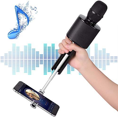 RCTOYS Bluetooth microfoon met opname, karaokemicrofoon, dynamisch licht, draadloze draagbare handmicrofoon met luidspreker voor volwassenen en kinderen, compatibel met Android iOS PC