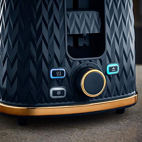 Tower Empire 2 Slice Toaster - Midnight Blue with Bronze Accents