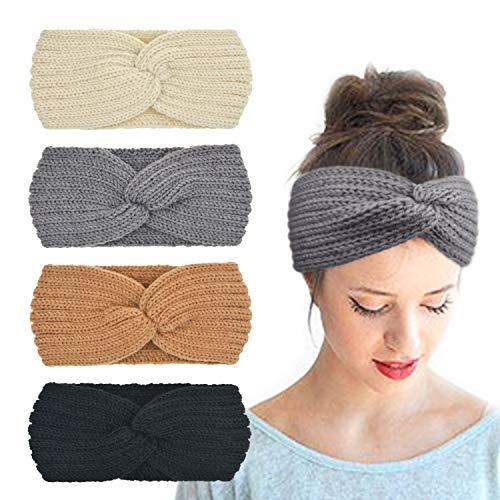 DRESHOW 4 Stück Damen Gestrickt Stirnband Winter Kopfband Haarband Stirnband Häkelarbeit Ohr Wärmer für Mädchen