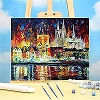 ケルン絵画での夜の絵画パッケージオイル塗料40 * 50枚のボードの数字の装飾 (Color : 36 colors 40x50cm)