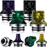 810 Drip Tip Replacement Resin Drip Tip Connector Honeycomb Standard Drip Tip Cover for Coffee Machine Favors Ice Maker (Black, Green, Purple, Yellow,4 Pieces)