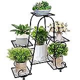 6 Tier Metal Plant Stand - Wrought Iron Flower Holder Pot Rack Vertical Shelves Patio Corner Display Garden Planters Shelf Organizer for Living Room Office Indoor Outdoor