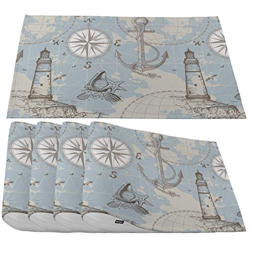 Moslion Sea Map Placemats,Retro Nautical Art Compass Island Lighthouse Anchor and Seashells Place Mats for Dining Table/Kitchen Table,Waterproof Washable Indoor Outdoor Dinner Table Mats,Set of 4