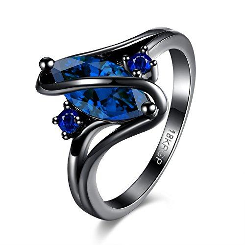 Anéis de zircônia femininos Diamondo, acessórios de casamento para jantares de joias com strass (azul escuro, LK-7)