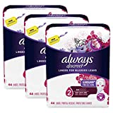 Always Discreet, Incontinence Liners for Women, Very Light Absorbency, 132 Count, Long Length, 44 Count- Pack of 3 (132 Count Total)