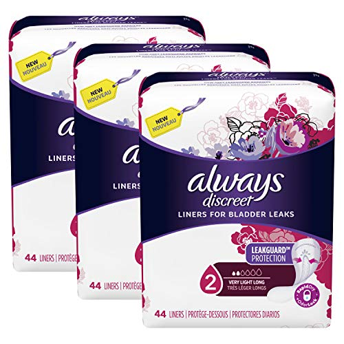Always Discreet, Incontinence Liners for Women, Very Light, Long Length, 44 Count (Pack of 3)