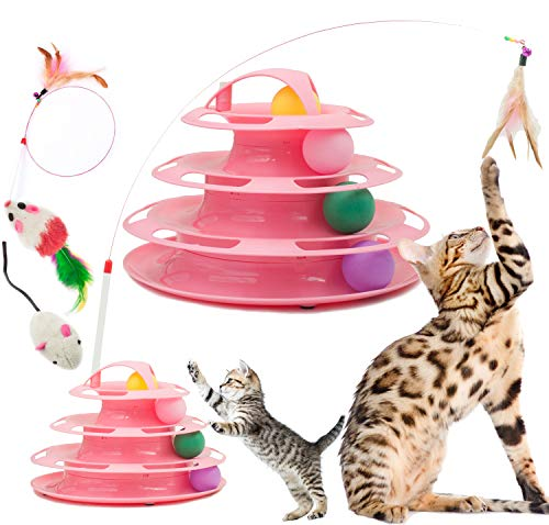 Fashion's Talk Cat Tower Cat Toy 4 Level Tracks Roller with Kitten Feather Teaser Interactive Play Mice and Ball Toys Pink