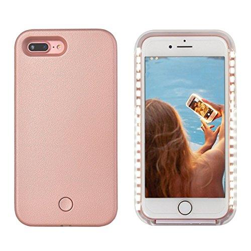 iPhone 8 plus case – Avkkey iPhone 8 plus LED selfie luce iPhone case Great for a Bright selfie and FaceTime illuminato luce Up custodia cover per iPhone 7 plus 5.5\'\' - Oro Rosa