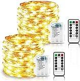 LED Lichterkette Batterie, 2 Stück 10m 100LED 8 Mode Wasserdicht Fernbedienung und Timer Lichterkette Stimmungslichter Beleuchtung für Zimmer, Innen, Weihnachten, Außen, Party