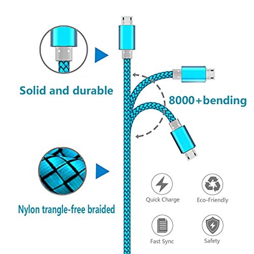 Micro USB Cable 2pack 6ft Android Charger Cord Fast Quick Charging for Samsung 2016 Tab A 7.0 10.1, E 8.0, Kindle Fire Hd Hdx 7 8 10 Tablet, Phones Galaxy S7 S6 Edge, Note 5/4, J7 J3 Prime Star Pro
