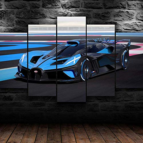 KOPASD Piy Painting 5 Piezas Cuadro sobre Lienzo Imagen Bugatti Bolide Concept Hyper Car 2020 Impresión Pinturas Murales Decor Dibujo con Marco Fotografía para Oficina Aniversario200x100cm