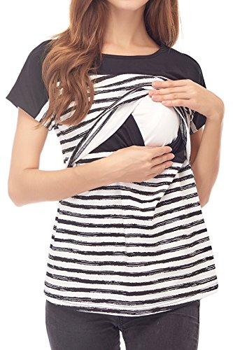 Smallshow Stillshirt Kurzarm Umstands Tshirt Umstandstop Umstandsmode Stilltop Baumwolle Schwangerschaft Streifen Shirt, Schwarz, M