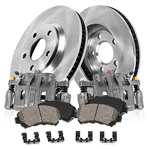 CCK02267 FRONT Original [2] Remanufactured Calipers + [2] OE Rotors + Low Dust [4] Ceramic Pads Kit