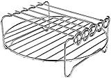 Griglia per friggitrice ad aria a doppio strato, con spiedini, accessori multiuso in acciaio inox, compatibile con friggitrice ad aria e molto altro ancora.