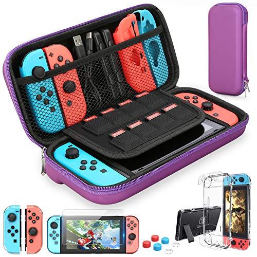 HEYSTOP Funda Compatible con Nintendo Switch, Funda de Viaje para Switch con Más Espacio de Almacenamiento para 8 Juegos, Funda Compatible con Nintendo Switch Console & Accesorios (Púrpura)