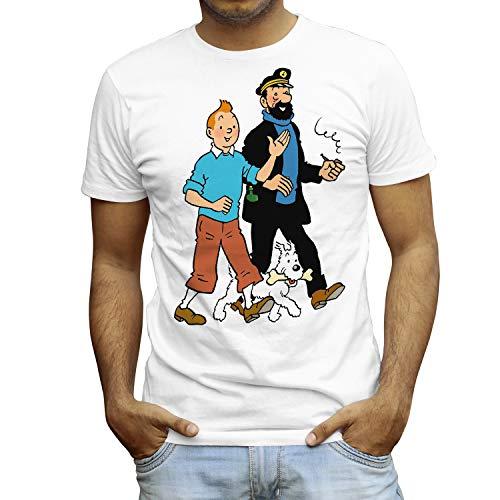 Camiseta Hombre - Unisex Cómic - Dibujos Animación, Tintín Capitán Haddock y Milú (Blanco, XL)