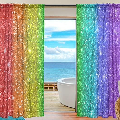 Mnsruu Regenbogen-Glitzer-Vorhänge, 213 cm lang, Voile-Vorhang für Wohnzimmer, Schlafzimmer, 2 Paneele
