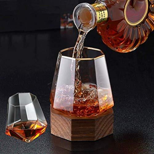 ウイスキーグラス ワイングラス カクテルグラス 日本酒グラス,八角形の木製ベース,340MLグラスワイングラスセット,多機能デカンター,ダイヤモンド型ジュースカップウォーターカップ