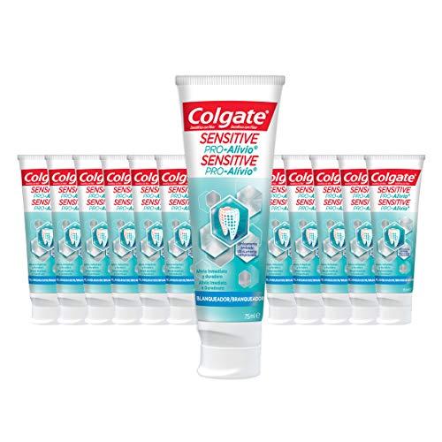 COLGATE Sensitive Pro Alivio, Pasta de Dientes Blanqueante, Alivio Inmediato y Duradero de la Sensibilidad Dental, 75ml, 12 Unidades