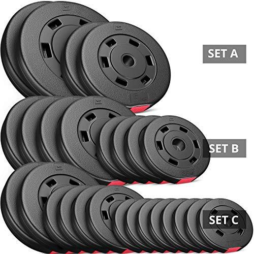 Hop-Sport 30kg Hantelscheiben Sets 30 mm Gewichte Auswahl: 2x5kg+2x10kg / 4x2,5kg+4x5kg / 8x1,25kg+4x2,5+2x5kg (B: 4x2,5kg + 4x5kg)