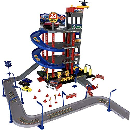 TikTakToo Parkgarage Spielset mit Autos und viel Zubehör für Kinder Garage Spielzeugautos teilweise mit Hubschrauber mit Tankstelle, Fahrstuhl, Waschstraße und Werkstatt I Autos aus Metall