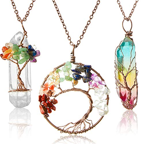 Hicarer 3 Pieces Christmas Gift Tree Life Pendant Tree Life Quartz Crystal Pendant Necklace Chakra Gemstone Copper Wire Wrap Necklace