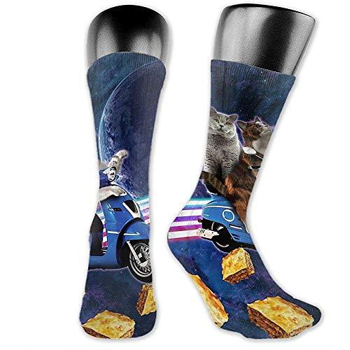 NGMADOIAN Cat Riding Scooter reizen met Space Lazer Galaxy Over-The-Calf sokken sportieve sokken voor mannen vrouwen sport lange sokken 40cm