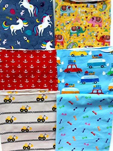 Babystoffe.de STOFFRESTE JERSEY Überraschungspaket Kinderstoffe Maske, Stoffpaket zum Nähen,Geschenk Nähen, Baby Stoffe, Jersey Bündchen