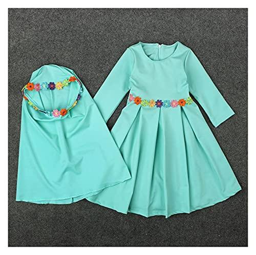 Modlitwa Długa Maxi Sukienka Muzułmańskie Dziewczyny Dzieci Odzież Islamska Długie Hidżab Szale Długie Hidlima Elbise Hijab Turecka Odzież islamska (Color : Green, Size : Fit height 100 cm)