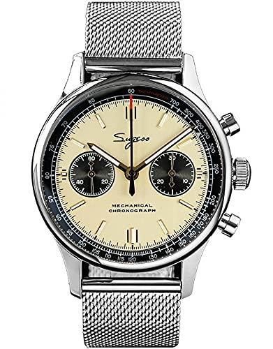 40MM oro cisne cuello Milán malla Champagne Panda cronógrafo mecánico cronógrafo para hombre reloj gaviota 1963 SUPANK030SN