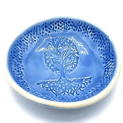 B JANECKA Tree of Hearts Bowl, 6 x 1 Inches, Handmade in USA, Pottery 9th Anniversary Gift