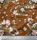 Soimoi Braun Viskose Chiffon Stoff Blätter & Rose Blumen-