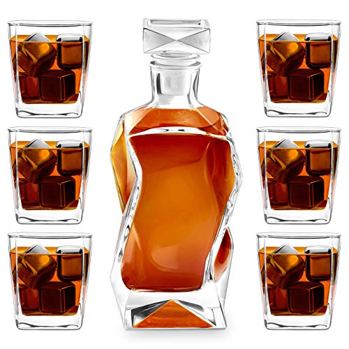 Murrano Whisky Karaffe mit Gravur - Whisky Dekanter - 700ml - Geschenk zum Geburtstag für Männer - Ohne Gravur, Mit 6 Gläsern