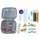 Juego de Ganchos de Ganchillo Multicolor, Juego de Herramientas de Tejer Completo TPR Mango Suave Crochet DIY Alumina Needle Set Weaving Craft Yarn Knitting Tools para Principiantes Adultos