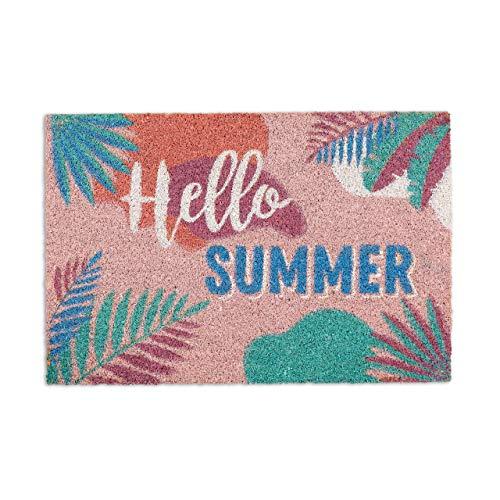 """Relaxdays Zerbino Ingresso Casa """"Hello Summer"""", Tappetino 60x40 cm in Fibra di Cocco, Tappeto Interni & Esterni,Colorato, Fibre, PVC, Multicolore, 1 pz"""