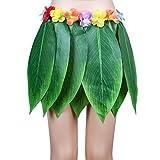 Gshy Falda Hawaiana con hojas verdes con flores de hibisco artificiales, para playa, barbacoas, fiestas de disfraces, disfraces, falda de hoja de plátano, estilo hawaiano