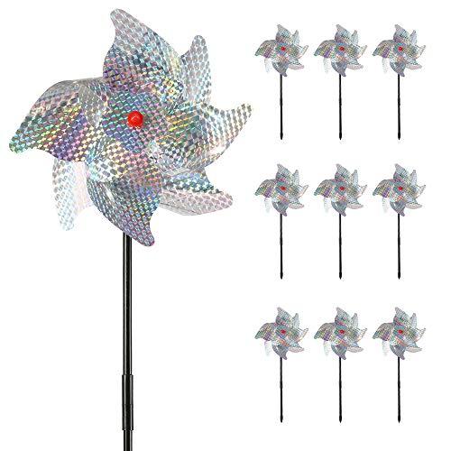 Stronghigheu 10 Stück Vogelabwehr, für den Außenbereich, Vogelabwehr, Windmühle, reflektierend, aus PVC, zur Befestigung von Tauben, Vögeln, Igeln, Pies, Wellen, Spatzen, Raben im Garten, Feld Dach