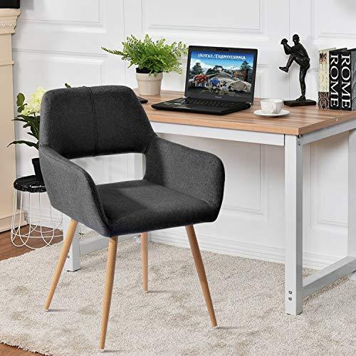Furnish1 Sillón Silla escandinava Silla de Oficina Luz de Tela Aspecto de Metal Madera Comedor Salón Oficina Dormitorio Negro