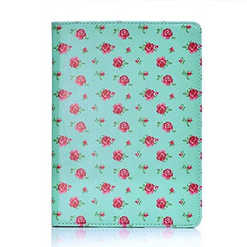 32nd Apple iPad Air (2 Generacion 2014) Funda Diseño Floral Carcasa Flip de Piel PU con Bisagra Flexible Gira 360 Grados, Funda Estilo de Flores Diseñador - Rosas Vintage en Verde Menta