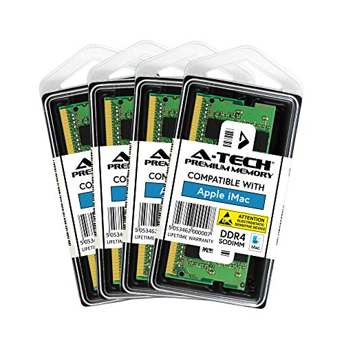 A-Tech 64GB (4 x 16GB) Max RAM for 2017 iMac (Retina 5K, 27 inch) - DDR4 2400MHz PC4-19200 SODIMM Memory Upgrade Kit