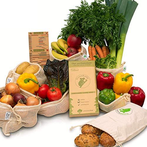 Greenkoala Obst- und Gemüsebeutel wiederverwendbar aus Biobaumwolle | Gemüsenetze Einkaufsnetze inkl. Brotbeutel | umweltfreundlich - plastikfrei einkaufen - 7er Set