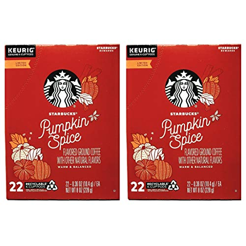 Starbucks Coffee Pumpkin Spice K Cups Coffee Pods - 44 K Cups Total - Pack of 2 Boxes - 22 K Cups Per Box - Limited Edition Pumpkin Spice Starbucks Coffee - For Use of Keurig Coffee Makers