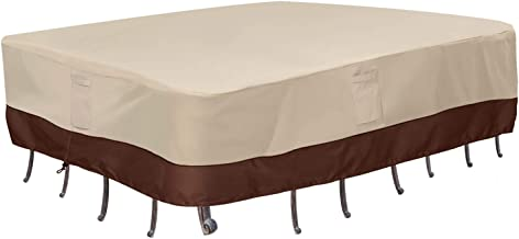 Vailge Waterproof Patio Furniture Set Cover, Lawn Patio Furniture Cover with Padded Handles, Patio/Outdoor Table Cover, Patio/Outdoor Dining Rectangular Table Chairs Cover(Medium,Beige & Brown)