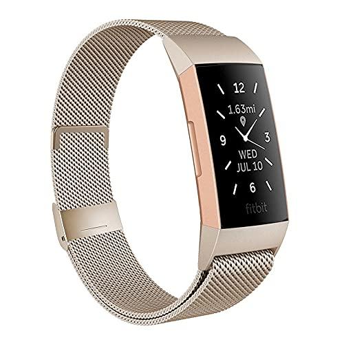 Moydolo Compatible con Fitbit Charge 3 Strap/Charge 4, correa de acero inoxidable para hombre y mujer, correa de cierre magnético ajustable, correa de repuesto para Charge3/Charge 4/Charge 3 SE, Groß,