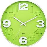 BUVU ZH09827D Wanduhr, Plastik, Green, 30 x 30 x 4 cm