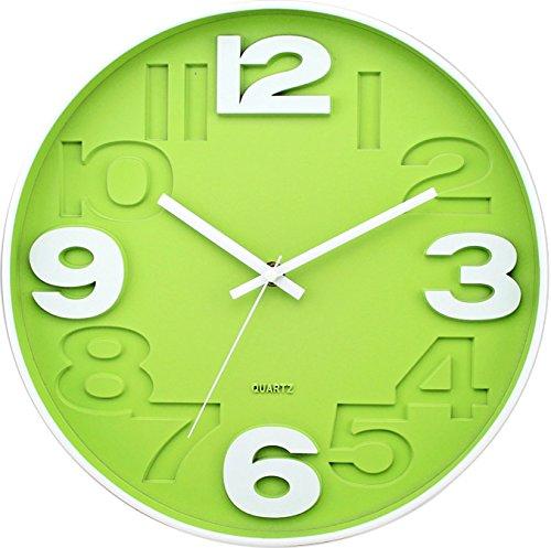 BUVU ZH09827D Reloj de Pared, Verde, 30 x 30 x 4 cm