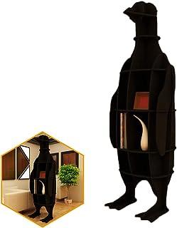 ORPERSIST Almacenamiento En Rack De Aterrizaje, Estantería De Modelado De Pingüino De Madera, Estantería De Exhibición De Ventana De Mobiliario De Hogar De Bricolaje, Amarillo/Negro (S/M / L),Black,L