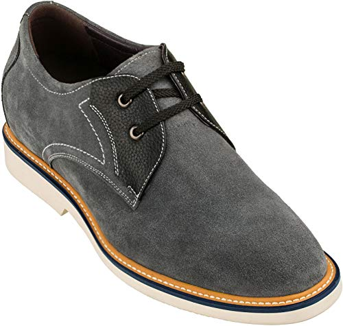 CALTO Men's Invisible Height Increasing Elevator Shoes - Grey/Black...