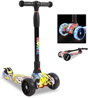 Jipemtra Scooters for Kids 3 Wheel T-bar Balance Riding Kick Scooters Foldable Height Adjustable LED PU Flashing with Graffiti for Kids Christmas Birthday Gift Age 2~14