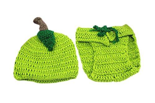 DELEY Bébé Garçons Filles Fait Main au Crochet Poivre Costume Tenues Bonnet Pantalon Ensemble Unisexe la Photographie Prop Vert